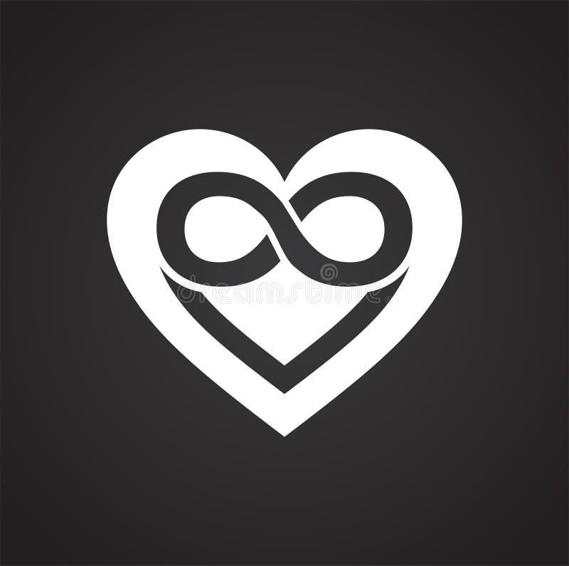 Icono del corazón del infinito en el fondo negro para el gráfico y el diseño web, muestra simple moderna del vector Concepto del  stock de ilustración