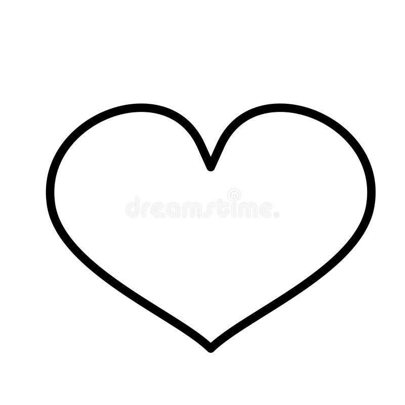 Icono del corazón Línea arte Fondo blanco Medios icono social Concepto del asunto Muestra, símbolo, elemento de la web Plantilla  ilustración del vector