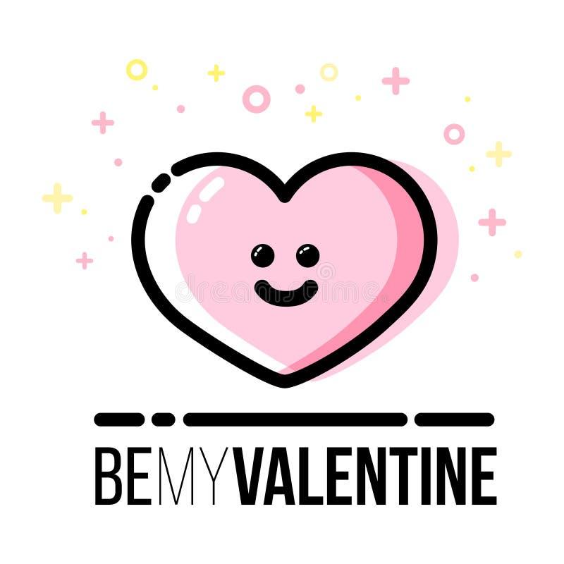 Icono del corazón para la tarjeta de felicitación de Valentine Day del santo Línea estilo plana stock de ilustración