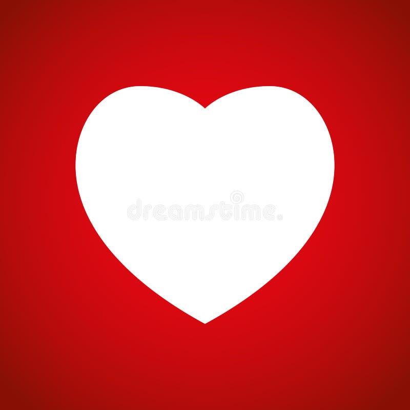 Icono del corazón, símbolo del amor Muestra del día de tarjeta del día de San Valentín, emblema aislado en fondo rojo, estilo pla libre illustration