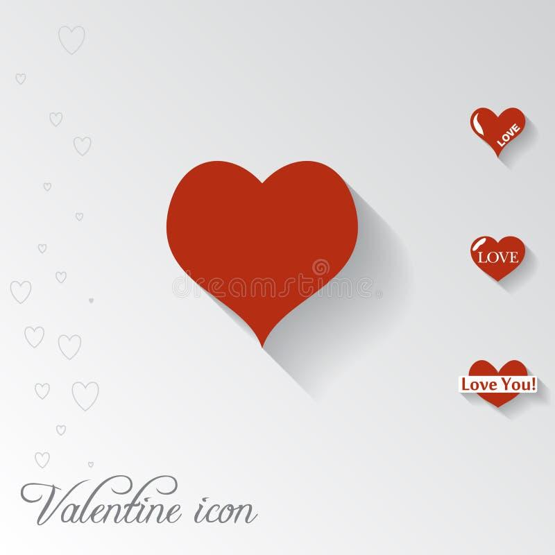 Icono del corazón Tarjeta de Valentine Greeting stock de ilustración