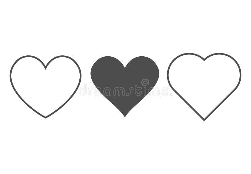 Icono del coraz?n Muestras del vector del amor del esquema aisladas en un fondo Línea gráfica negra gris arte de la forma para la stock de ilustración