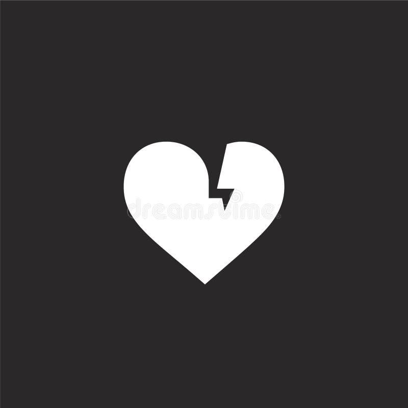 Icono del coraz?n quebrado Icono llenado del corazón quebrado para el diseño y el móvil, desarrollo de la página web del app icon stock de ilustración