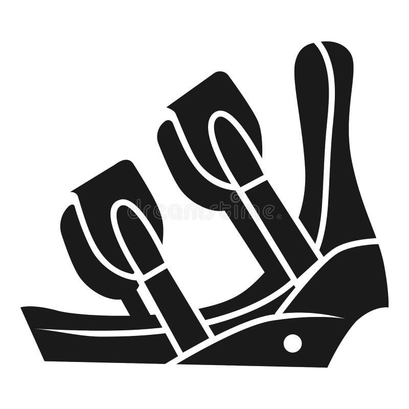 Icono del corchete del zapato del esquí, estilo simple stock de ilustración