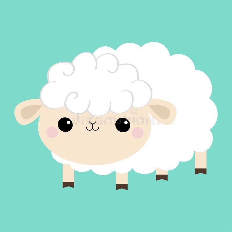 Icono del cordero de las ovejas Forma de la nube Car?cter sonriente divertido del beb? del kawaii lindo de la historieta Decoraci libre illustration