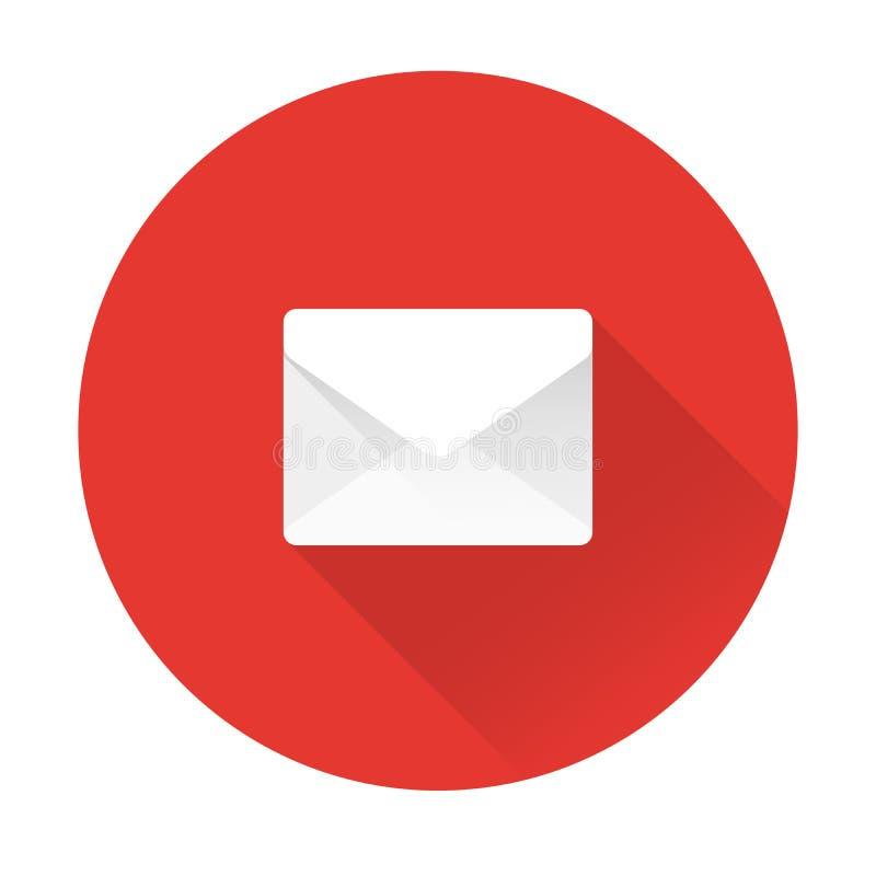 Icono del correo, ejemplo del vector del mensaje Sobre blanco aislado en rojo Web, diseño plano de la página web, muestra del  d ilustración del vector