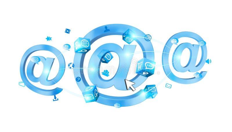 icono del correo electrónico de la representación 3D conectado el uno al otro ilustración del vector