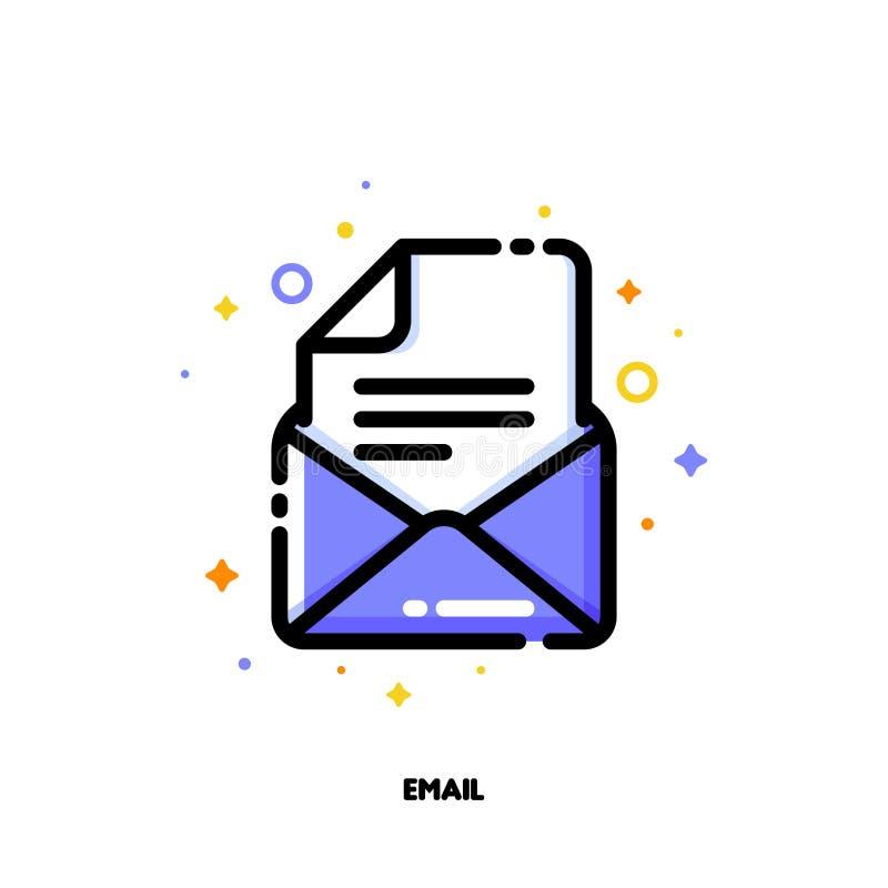 Icono del correo electrónico para el concepto de la ayuda y de la ayuda Esquema llenado plano ilustración del vector
