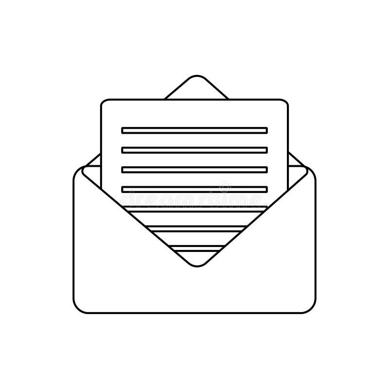 Icono del correo electr?nico del esquema Ejemplo simple del símbolo del email stock de ilustración