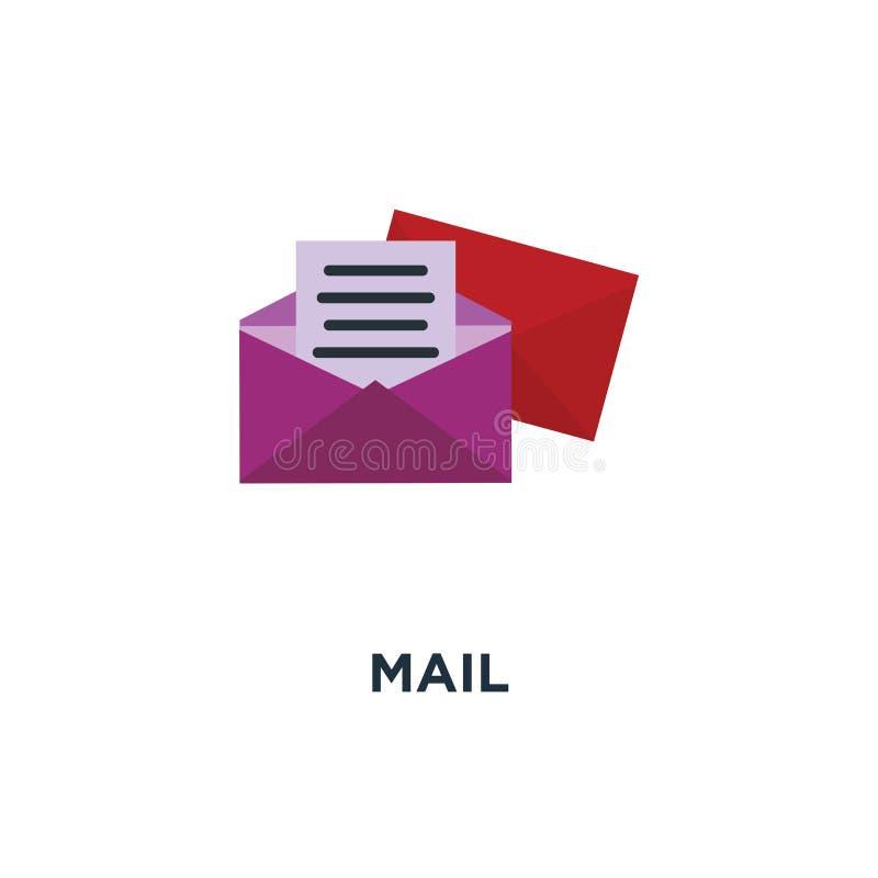 Icono del correo envíe el diseño del símbolo del concepto del correo electrónico, sobre, mensaje s stock de ilustración