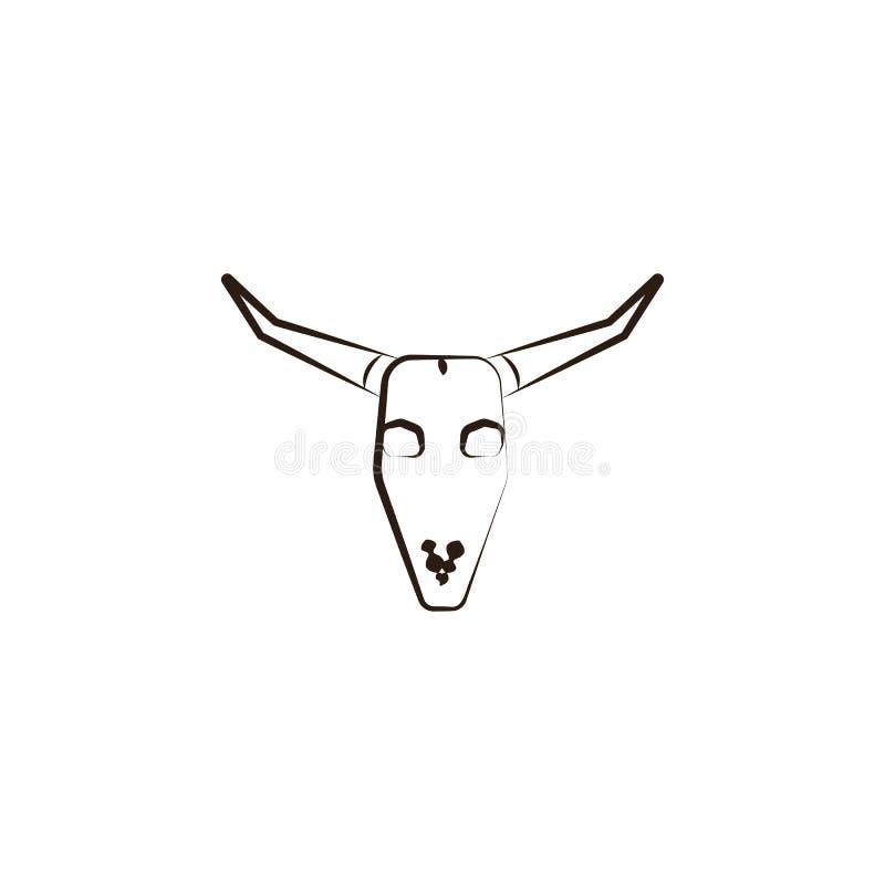 Icono del cráneo de Bull Elemento del icono del desierto para los apps móviles del concepto y del web El icono del cráneo del tor ilustración del vector