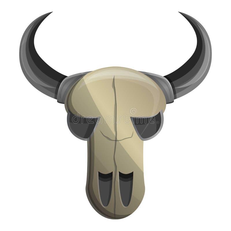 Icono del cráneo de la vaca, estilo de la historieta stock de ilustración