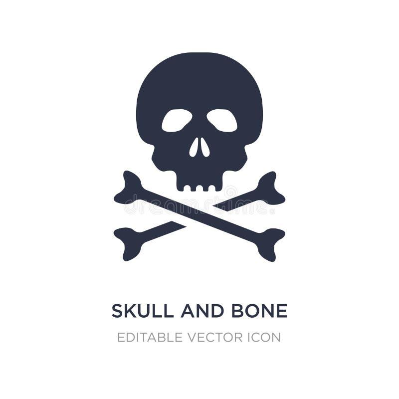 icono del cráneo y del hueso en el fondo blanco Ejemplo simple del elemento del concepto médico libre illustration