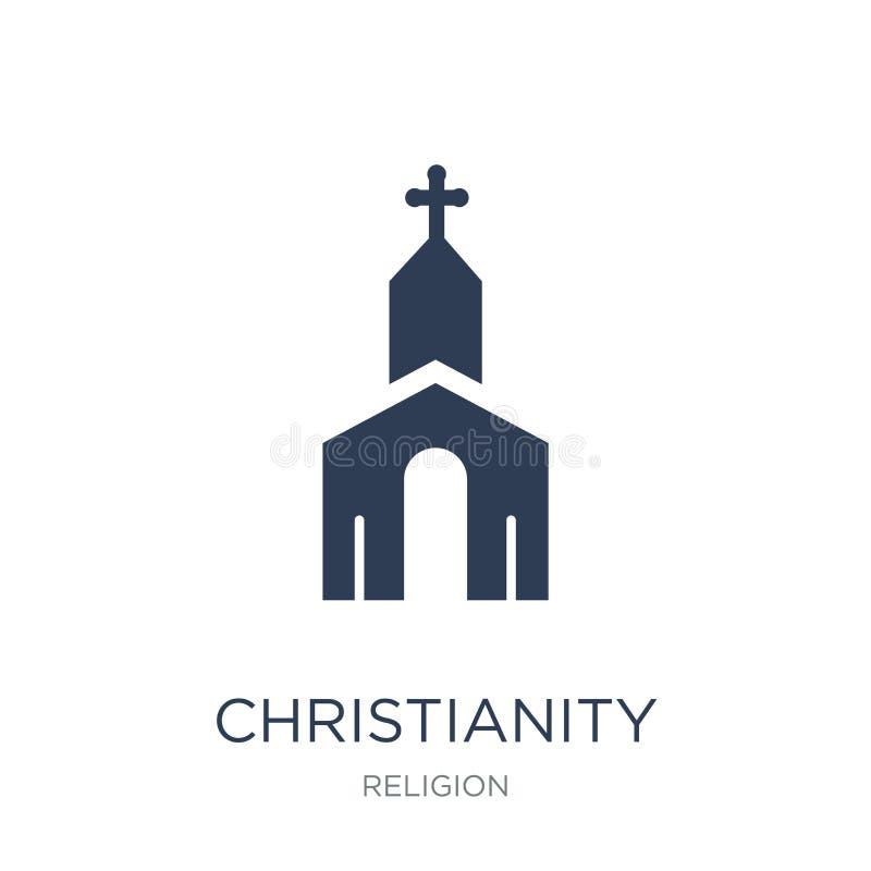 Icono del cristianismo Icono plano de moda del cristianismo del vector en blanco ilustración del vector