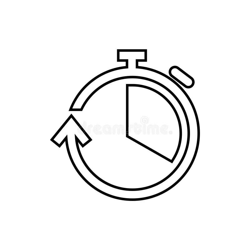 Icono del cronómetro - línea fina stock de ilustración