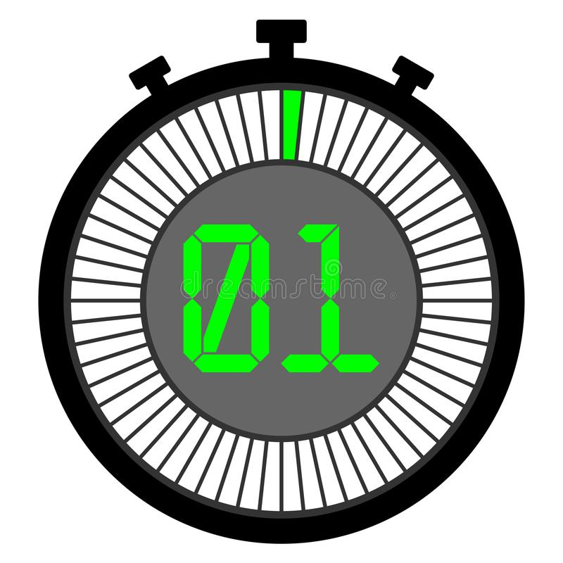 Icono del cronómetro 1 verde de los segundos icono ilustración del vector