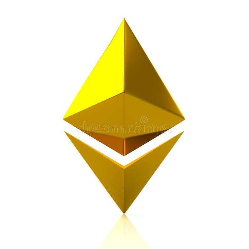 Icono del cryptocurrency de Ethereum del oro libre illustration