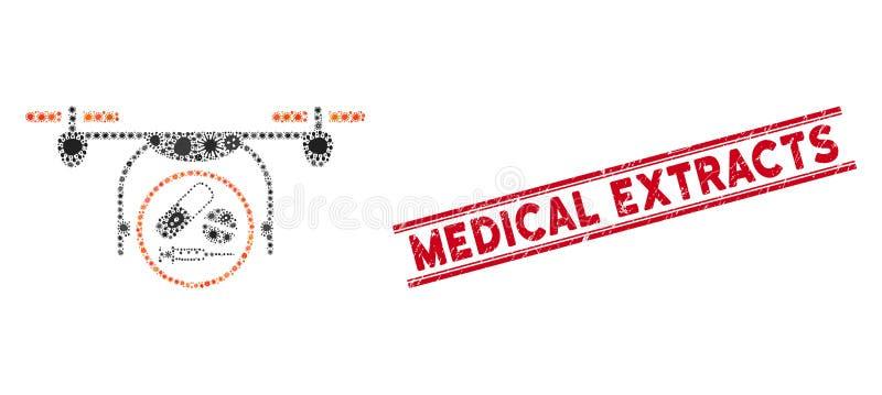 Icono del Cuadcopter de Medicación Mosaica de Infección y sello de extractos médicos gruesos con líneas ilustración del vector