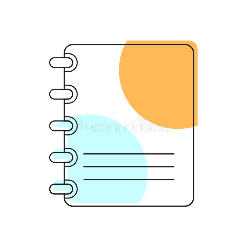 Icono del cuaderno Elemento de la escuela para el dise?o stock de ilustración