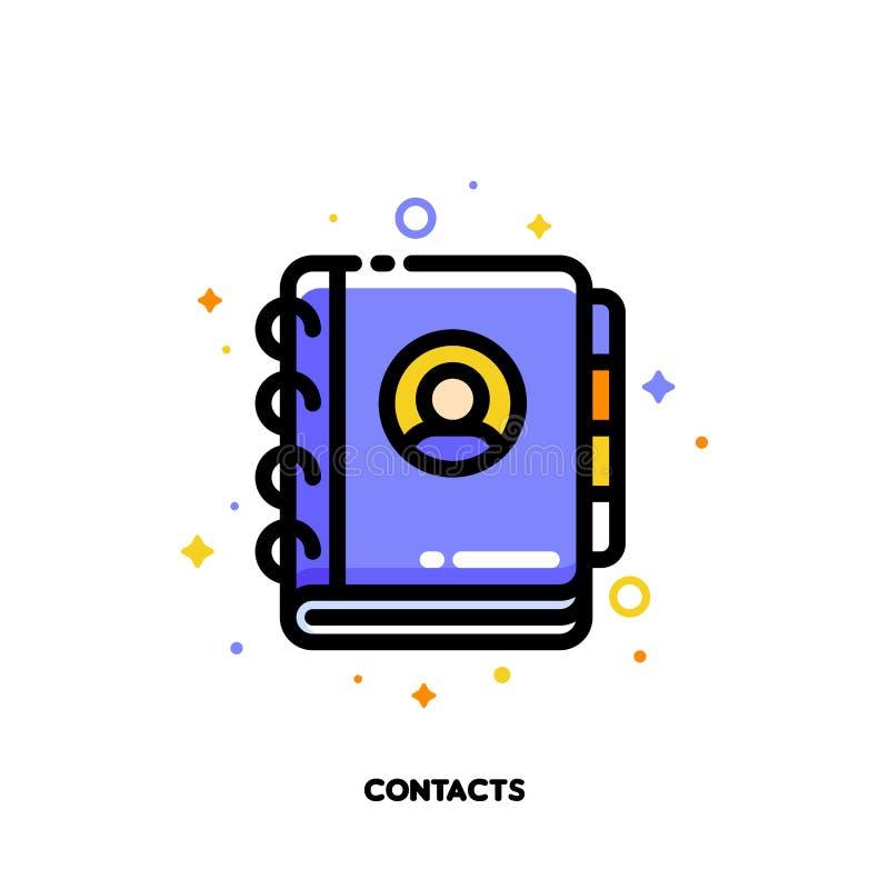 Icono del cuaderno o dirección, listín de teléfonos para la comunicación stock de ilustración