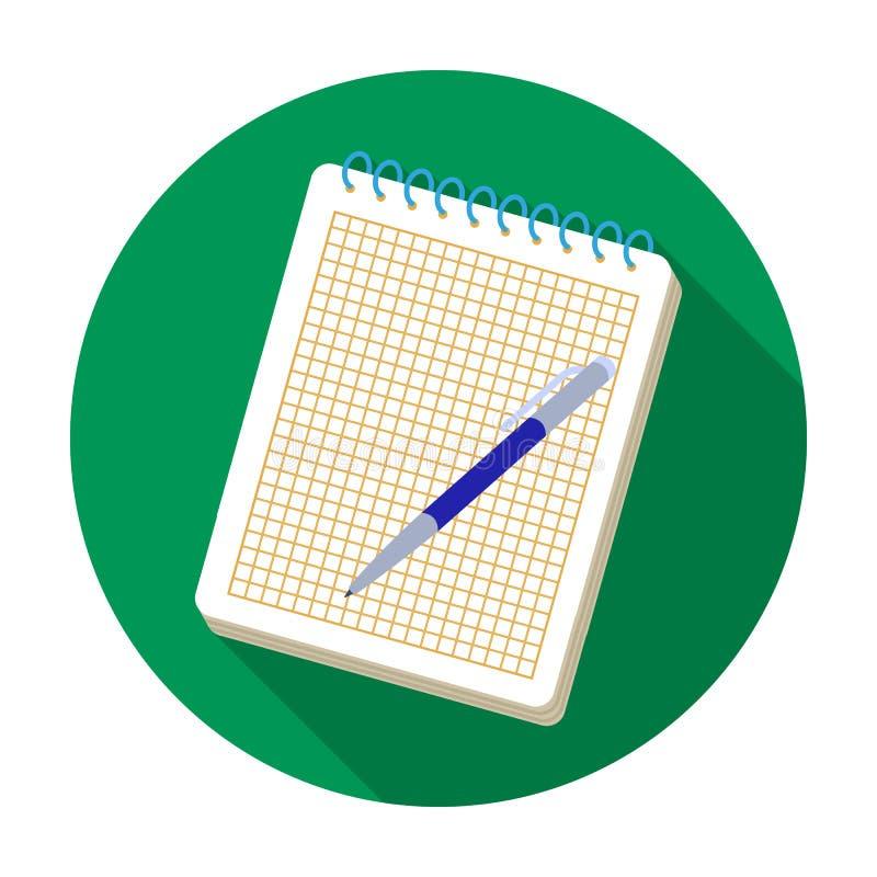 Icono del cuaderno y de la pluma en estilo plano aislado en el fondo blanco Ejemplo del vector de la acción del símbolo del estil stock de ilustración