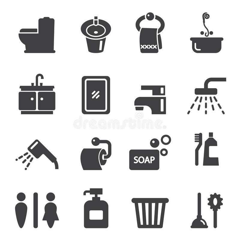 Icono del cuarto de baño stock de ilustración