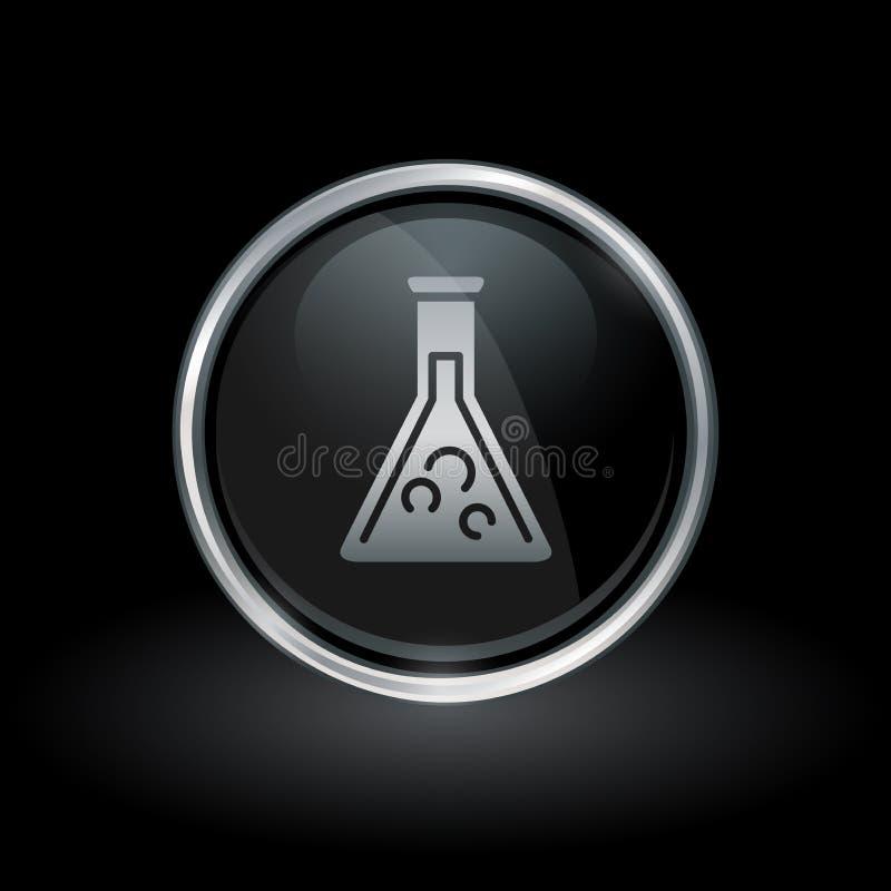 Icono del cubilete de la química dentro de la plata redonda y del emblema negro libre illustration