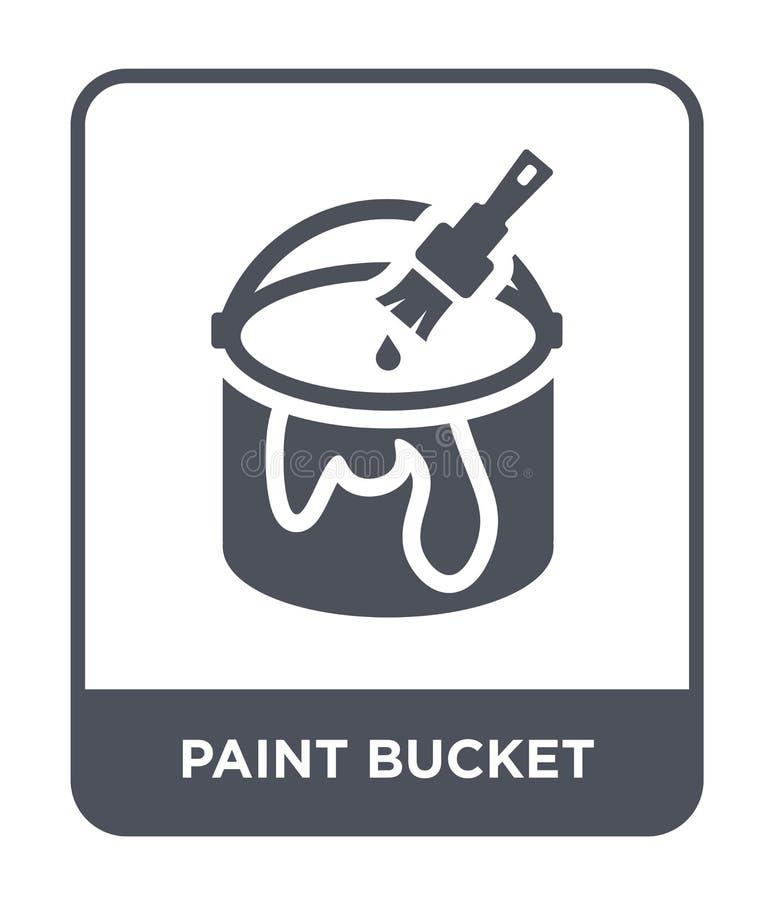 icono del cubo de la pintura en estilo de moda del diseño Pinte el icono del cubo aislado en el fondo blanco icono del vector del libre illustration