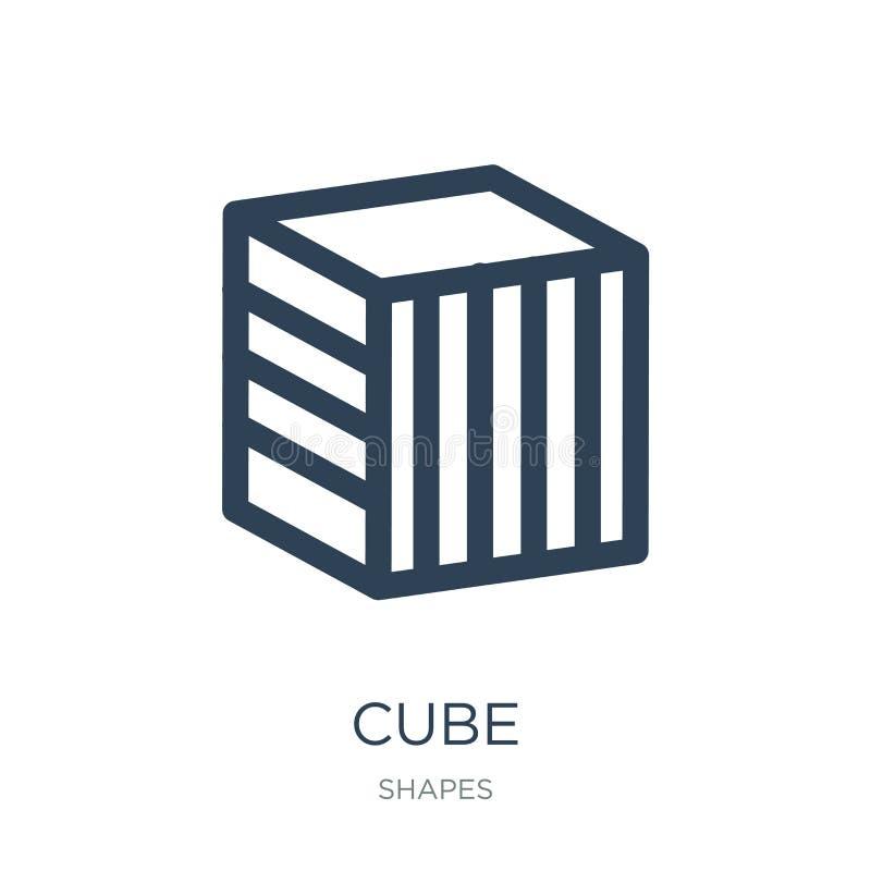 icono del cubo en estilo de moda del diseño Icono del cubo aislado en el fondo blanco símbolo plano simple y moderno del icono de stock de ilustración