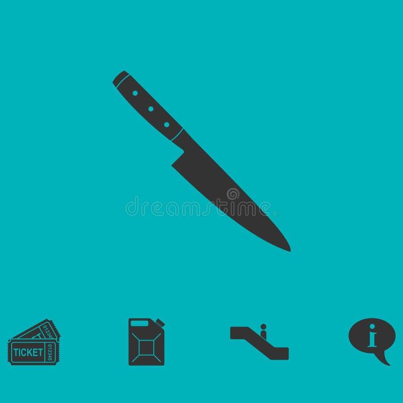 Icono del cuchillo plano ilustración del vector