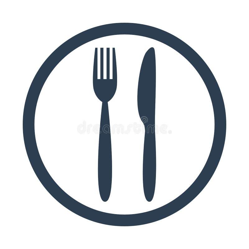 Icono del cuchillo y de la bifurcación ilustración del vector