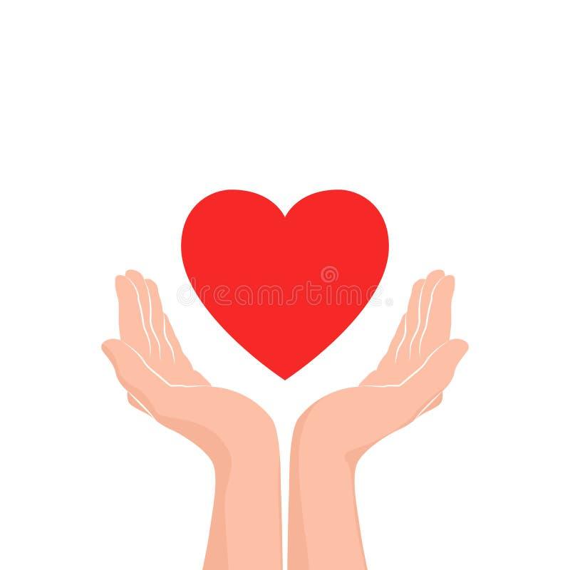 Icono del cuidado del amor Dos manos con el corazón rojo Ilustración del vector stock de ilustración