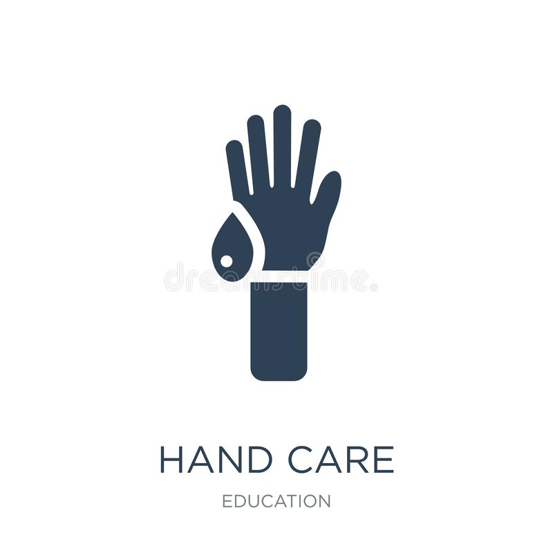 icono del cuidado de la mano en estilo de moda del diseño icono del cuidado de la mano aislado en el fondo blanco plano simple y  stock de ilustración