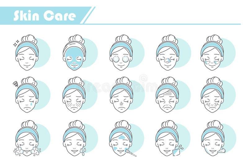 Icono del cuidado de piel de la belleza stock de ilustración