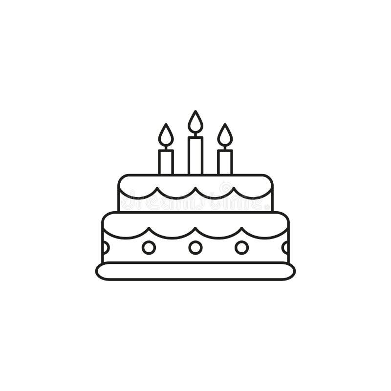 Icono del cumpleaños de la torta ilustración del vector
