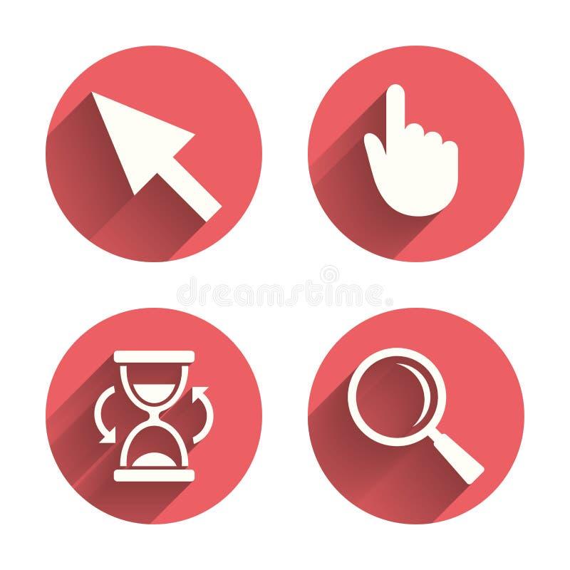 Icono del cursor del ratón Reloj de arena, vidrio de la lupa stock de ilustración