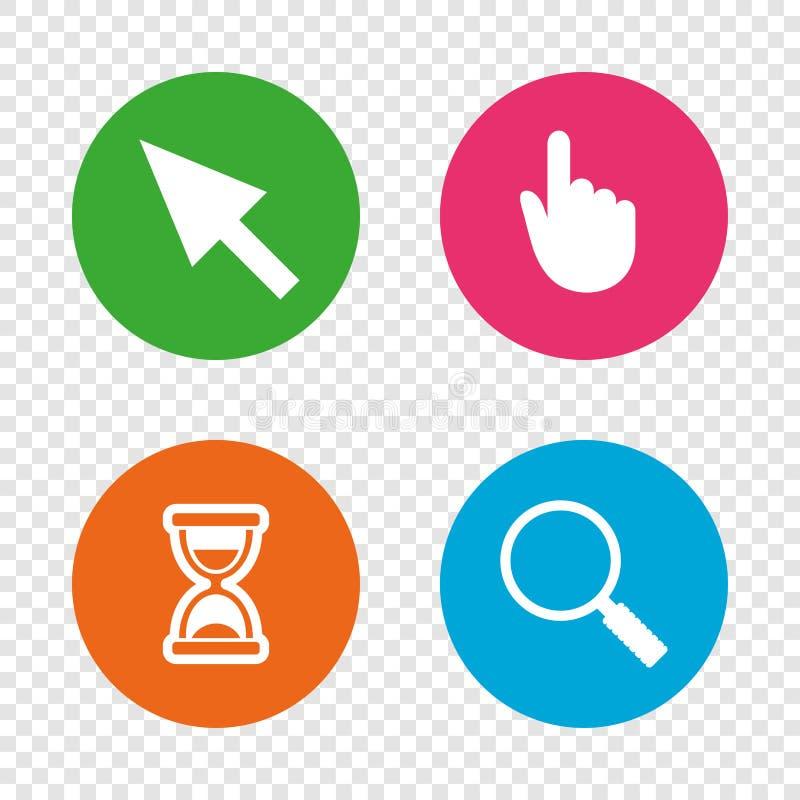 Icono del cursor del ratón Reloj de arena, vidrio de la lupa libre illustration