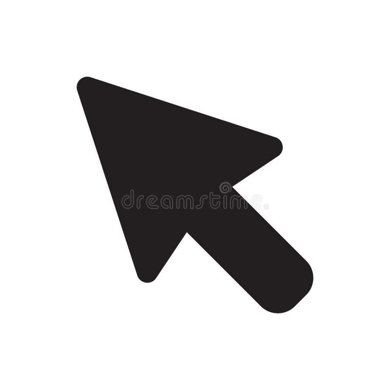 Icono del cursor del ratón del ordenador en estilo plano El ejemplo del vector del cursor de la flecha en blanco aisló el fondo stock de ilustración