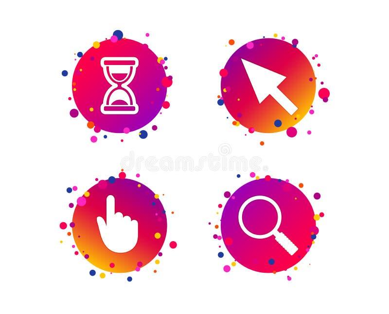 Icono del cursor del ratón Reloj de arena, vidrio de la lupa Vector stock de ilustración