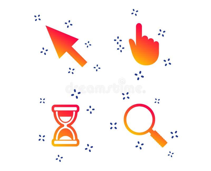 Icono del cursor del ratón Reloj de arena, vidrio de la lupa Vector libre illustration
