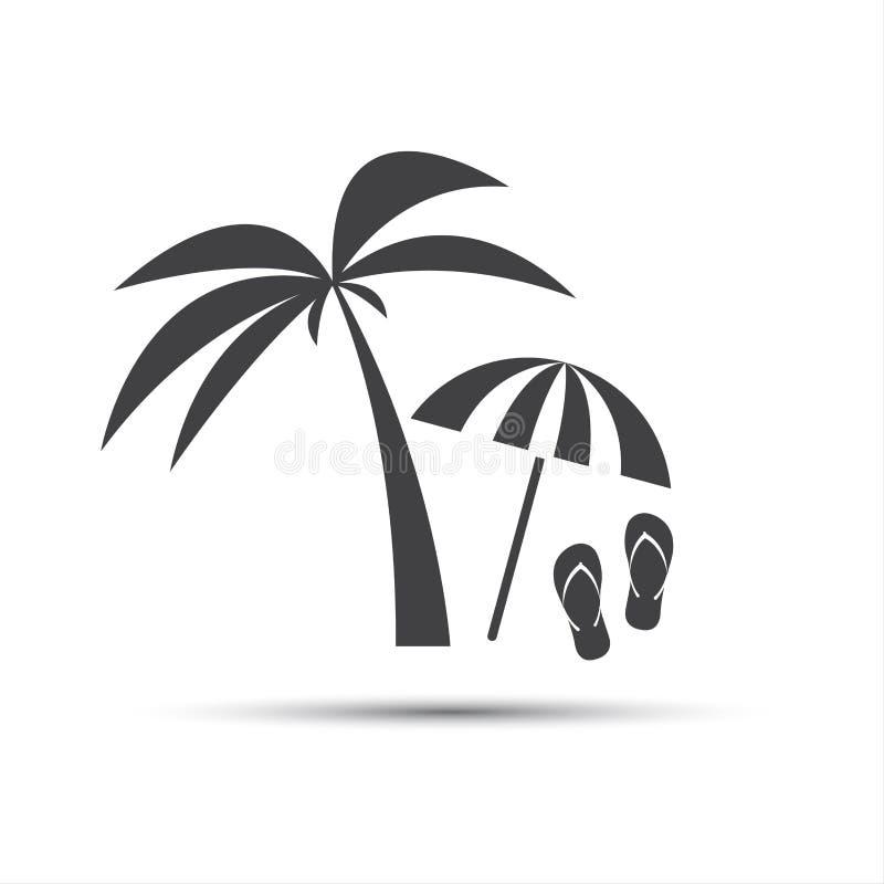 Icono del día de fiesta con la palma, el parasol de playa y la chancleta libre illustration