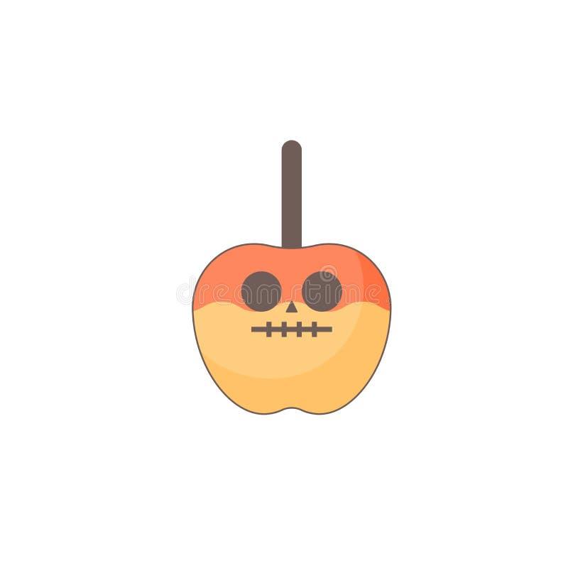 Icono del día de fiesta de Halloween, icono del caramelo de Apple libre illustration