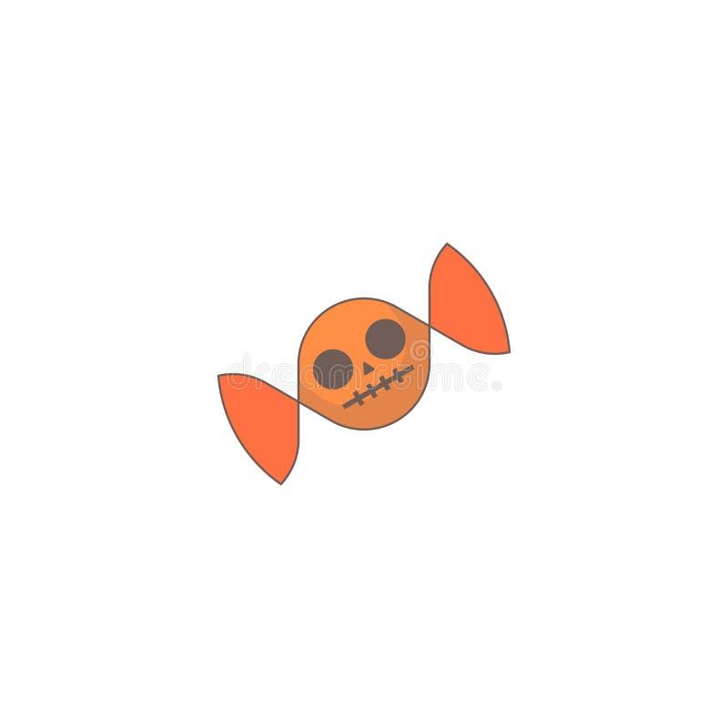 Icono del día de fiesta de Halloween, icono del cráneo del caramelo ilustración del vector