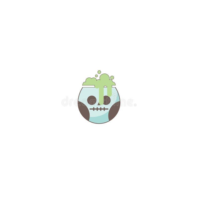 Icono del día de fiesta de Halloween, icono del elixir del cráneo libre illustration