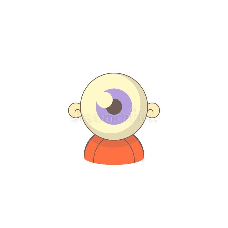 Icono del día de fiesta de Halloween, icono del ojo del zombi ilustración del vector