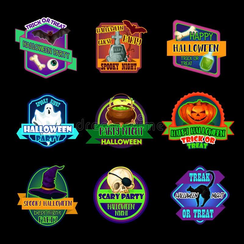 Icono del día de fiesta de Halloween y etiqueta del partido del horror libre illustration