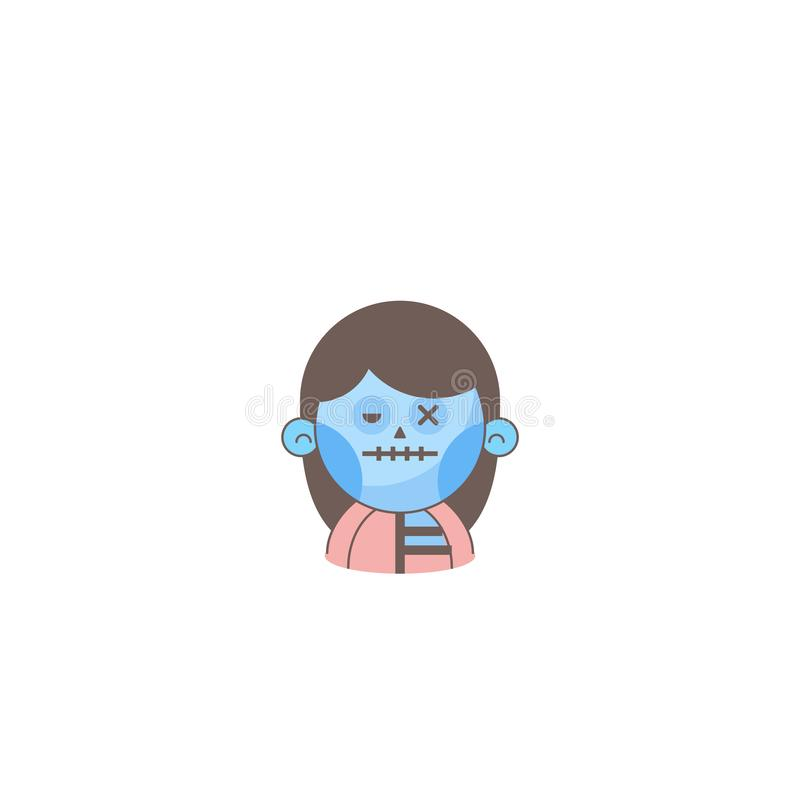 Icono del día de fiesta de Halloween, icono del zombi de la muchacha libre illustration