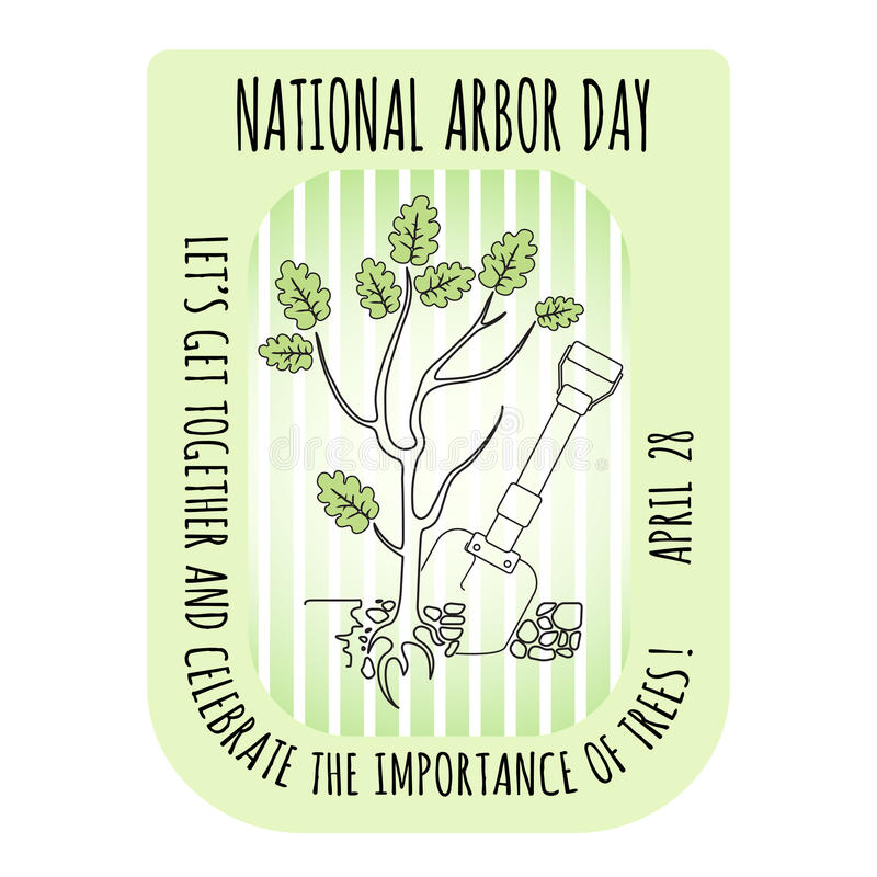 Icono del día del árbol Árbol de roble joven Ilustración del vector libre illustration