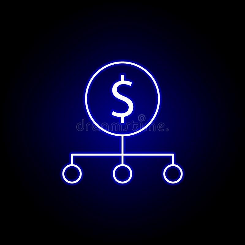 icono del dólar de la conexión de red en el estilo de neón Elemento del ejemplo de las finanzas Las muestras y el icono de los s? stock de ilustración