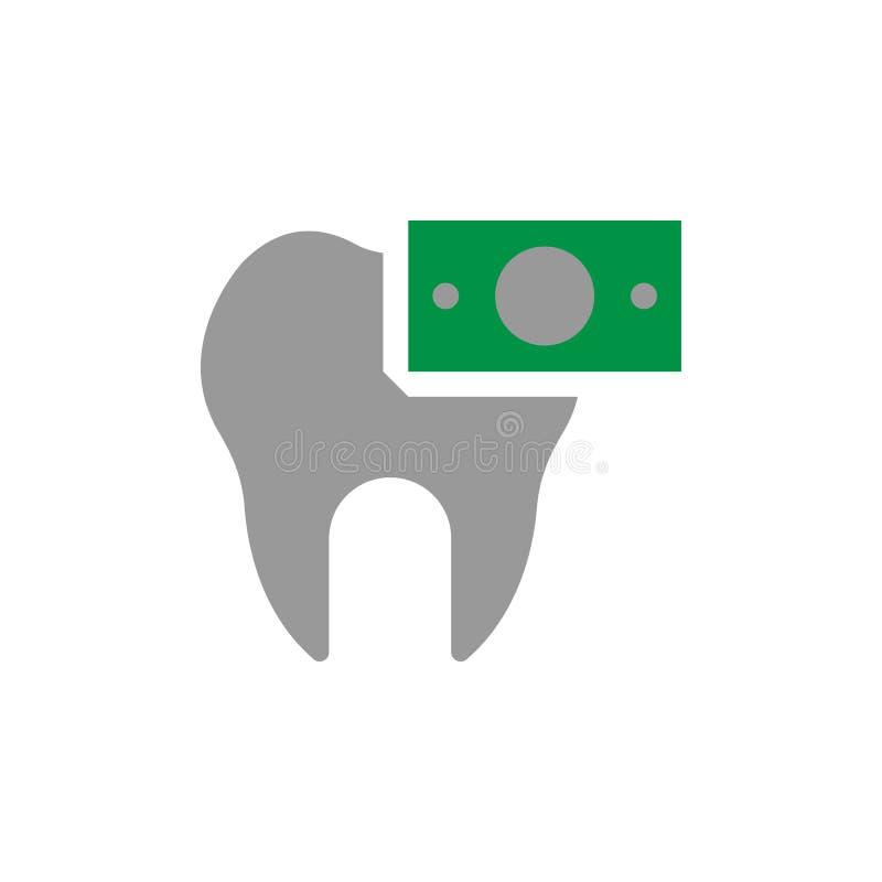 Icono del dólar y de la factura Elemento del icono del cuidado dental para los apps móviles del concepto y de la web El icono det ilustración del vector